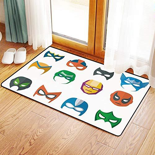 Rutschfester Badvorleger, Superheld, Held Maske weiblich männlich Kostüm Power Gerechtigkeit Menschen Mode Icons,Mikrofaser Duschvorleger Teppich für Badezimmer Küche Wohnzimmer 50x80 cm (Weibliche Superhelden Kostüm Einfach)