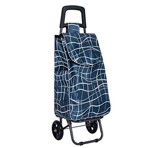 QX IAIZI Carrito de Compras Inicio Carretilla portátil Carretilla pequeña para Remolque Carro pequeño para extracción Plegable (Color : Azul)