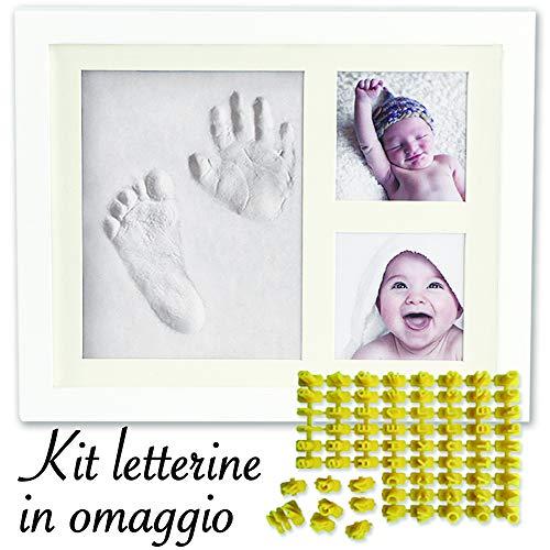 Cornice Impronte Neonato, Impronta Mani E Piedi Neonati, Bambino Bambina, Kit Portafoto, Idea Regalo Nascita Battesimo. In Aggiunta Il Kit LETTERINE by Futura