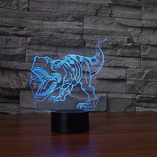 BFMBCHDJ Kreative Dinosaurier-förmige Tischlampe New Led Nachtlicht 3D Nachttischlampe Atmosphäre A3 Schwarz Basis + Fernbedienung -