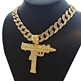 BLINGFACTORY Anhänger Hip-Hop Iced Out Uzi Maschinengewehr & 50,8 cm Full Iced Cuban Choker Chain Set