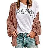 Femmes Cardigan Pull Outwear Manches Longues et Décontracté Peluche Sweaters avec Poches