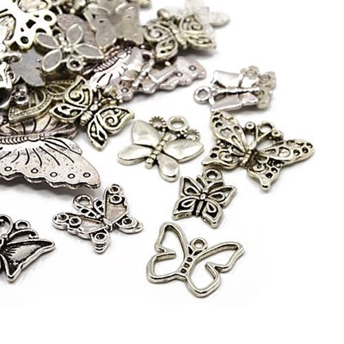 30g x Tibetan Silver Mixed Charms Pendants - Antique Silver BUTTERFLIES HA06700