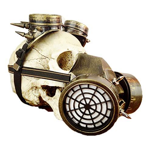LUCKME Steampunk Gas Mask, Retro Respirator Gothic Pest Cyberpunk Goggles for Masquerade Cosplay Halloween Kostümprops,Gold