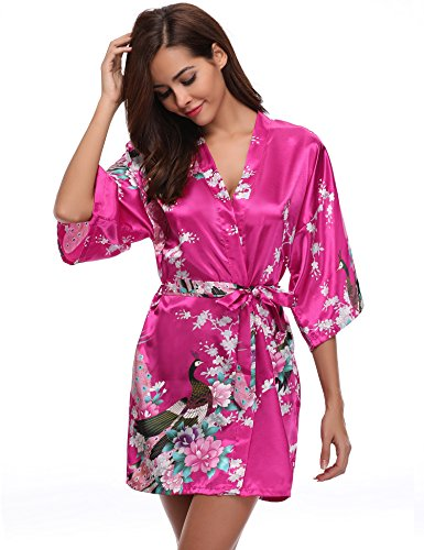 Aibrou Damen Morgenmantel Kimono Robe Bademantel Schlafanzug Nachtwäsche Kurz aus Satin mit Peacock und Blüten Rot S (Klassische Kimono-robe)