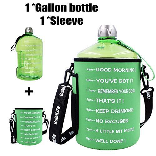 QuiFit Wasserflasche, wiederverwendbar, mit Schulterriemen, auslaufsicher, für Outdoor-Aktivitäten, BPA-freier Kunststoff, für Sport, Wasserflasche mit Tageszeitmarkierung, 1 Gallon/Green, 1 Gallon - Auto Waschen Gallone