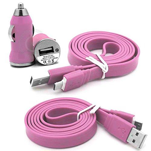 ZTE Blade Vec 4G Qualitativ hochwertiger ultra-kompakter kugelförmiger Zigarettenanzünder-Anschluss USB Reise-Ladeadapter fürs Auto mit 1m Anti-Tangle-USB-Flachdatenkabel / Transfer- / Synchronisier-Kabel - Hellrosa / Baby Pink - Von Gadget Giant®