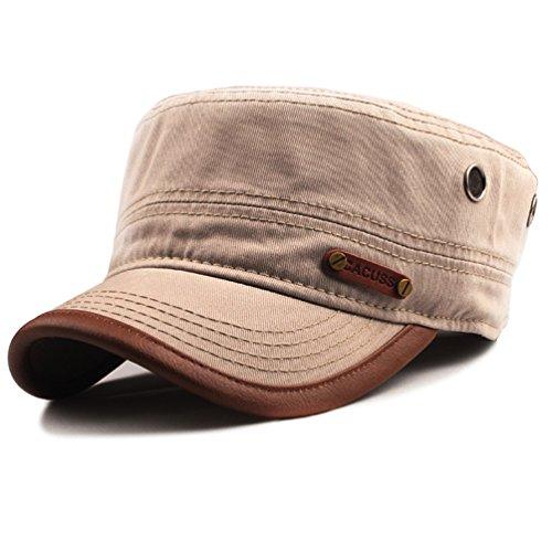 CACUSS Herren Baumwolle Army Kappe Cadet Hat Military Flat Top Verstellbare Baseballmütze einheitsgröße p0059_khaki