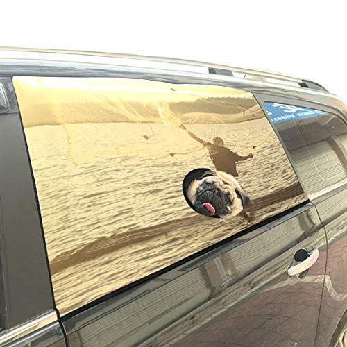 Einsamer Fischer Angeln bei Sonnenuntergang Faltbarer Hund Sicherheit Auto Gedruckt Fenster Zaun Vorhang Barrieren Protector Für Baby Kind Einstellbar Flexible Sonnenschutzabdeckung Universal Fit Suv -