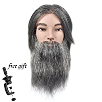 Wansi 100% Human Hair Male Mannequin Head with Natural Colour Hair and Beard Training Head for Barbers with Free Clamp