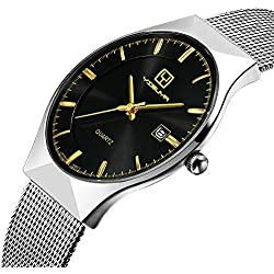 YISUYA Mens Ultra Thin Stainless Steel Mesh Band Date Display Black Dial Quartz Business Wrist Watches + Gift Box