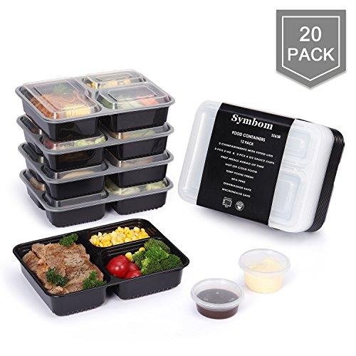 20-Pack + 6 Saucenbecher Symbom Frischhaltedosen Bento Lunch Box 3 Fach Meal Prep Food Container Wiederverwendbar - Mikrowelle, Spülmaschine, Gefrierschrank Safe Essen box Sets 1L - BPA Free (Bento-sauce Container)