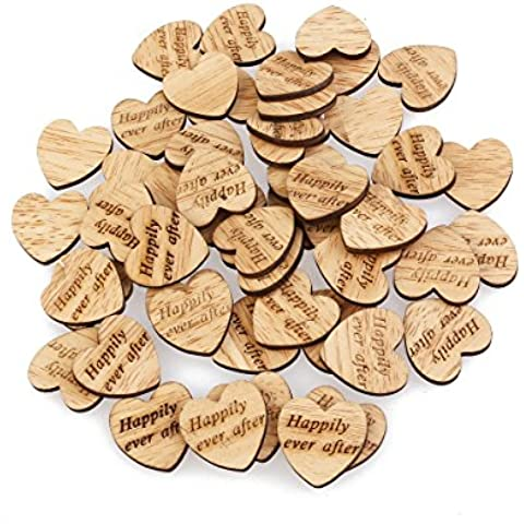 PIXNOR 50pz Legno Fette di Cuore Naturale Legno Slices per DIY Decorazione di Matrimonio - Rottami Felice Scrapbooking