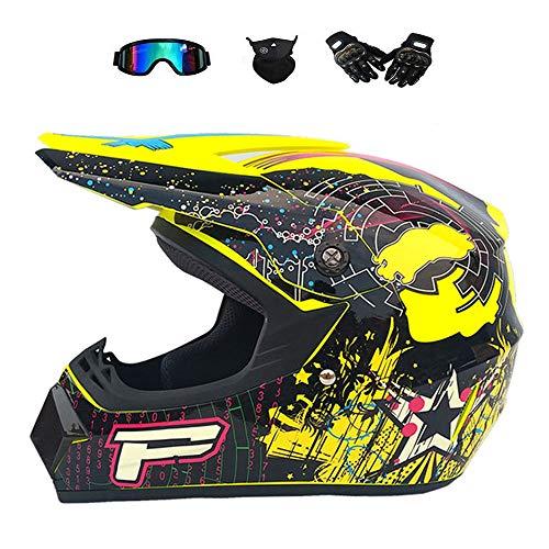 BMAQ Off Road Crosshelm Männer Mädchen, Schwarz/Gelb Größe M 57-58cm Motocrosshelm mit Brille UV Sschutz Handschuhe Maske, Lärmreduzierung des Fahrtwind,S(52~54CM)