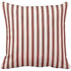 Funda de cojín clásica con diseño de Rayas, Color Rojo y Crema, 45,7 x 45,7 cm