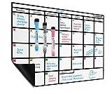 Planificador mensual al magnético de borrado en seco en formato A·3 - Gran tablero de notas con un imán fuerte y flexible - Pizarra blanca practica de Plan Smart
