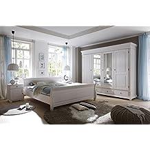 Schlafzimmer Landhaussstil Kiefer Weiß Gewachst 4 Tlg. 180x200