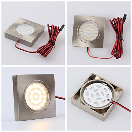 LED Aluminium Aufbaustrahler eckig – DIMMBAR – 2W 120lm – edelstahl-gebürstet – warmweiß (3000 K) - 4
