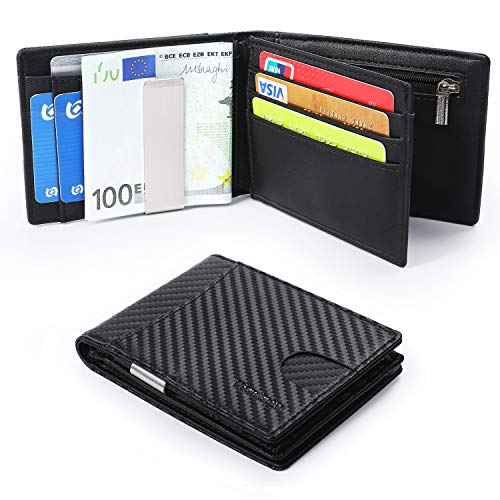 Münzfach Brieftasche (Vemingo Herren Geldbeutel Geldbörse mit Geldklammer Münzfach und Sichtfenster | RFID Blocker Kreditkartenetui Karten Portemonnaie | Dünne Brieftasche Portmonee für Männer XB-033 Carbon-Schwarz)