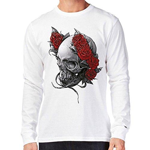 t-shirt manica lunga bianca - teschio con corone di rose - skull death- S M L XL XXL uomo donna bambino maglietta by tshirteria bianca