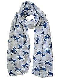 White and Blue White Horse Print Scarf Ladies Fashion Animal Scarves
