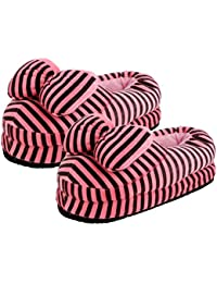CASON - Indoor Slippers Warm Winter Home Bedroom Slippers for Girls,Women,Baby or Emoji Slippers Minion Slippers Gifts (Fits Indian Size 5-8)(Pink)