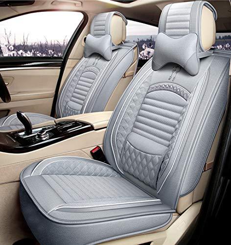Yunchu Autositzbezug-Sets Atmungsaktives Komfort-Flachs-Autositzkissen für den ganzjährigen Gebrauch Auto sitzbezüge (Color : Gray, Size : Deluxe) - Auto Sitzbezüge Toyota Matrix