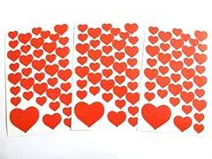 Idea Regalo - Etichette adesive a forma di cuore rosso, per bambini, per sacchetti per feste, scrapbooking, bigliettini o decorazione di quaderni