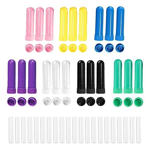 21 PCs couleurs assorties huile essentielle en blanc nasal inhalateur tubes avec capuchon et mèches
