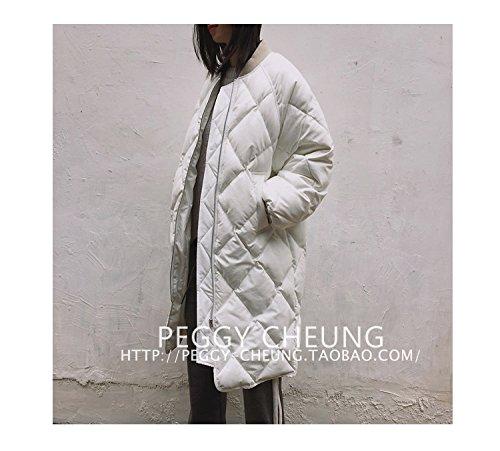 Xuanku Der Winter Ist Lang, Die Argyle Pullover Baumwolle Jacke Baumwolle Mantel Dicke Warme Jacke Weiblich, Alle Code, Weiß