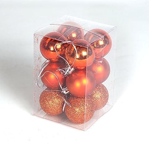 Gemischte bruchsichere Weihnachtskugeln (40mm, Orange)