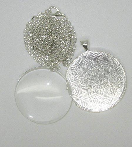 Bastel Express-2medaglioni rotondi 33mm con cristalli di vetro, occhielli, collane e adesivo Cabochon Covers 30mm per DIY gioielli argento, confezione da 4