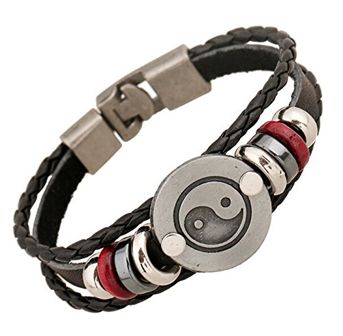 Epinki Taiji Bagua Herren Yin Yang Leder Perlen Armband Lederarmband