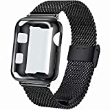 INZAKI Correa con Funda para Apple Watch 44mm, Malla de Acero Inoxidable Correa de Bucle con...