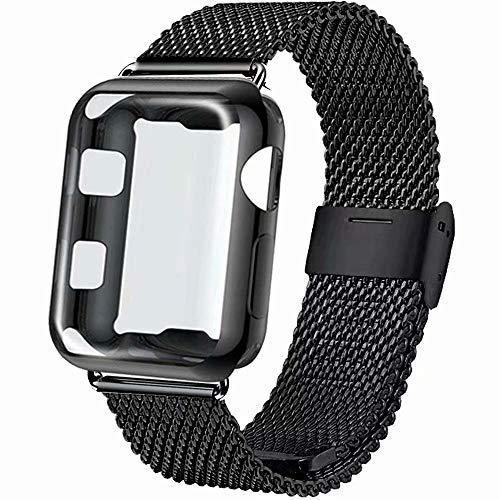 INZAKI Kompatibel für Apple Watch Armband mit Hülle 38mm, Edelstahl Netz Schlaufen Armband mit Displayschutz Schlankes case für iWatch Series 3/2 / 1, Sport, Edition,Schwarz
