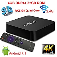 Android TV Box, 4GB DDR4 +32GB Super-VIP Smart 4K TV Box Android 7.1 Amlogic 912 Octa Cora Wifi Set Top Boxes Support 3D 4K Ultra HD TV (MX10 4+32GB)