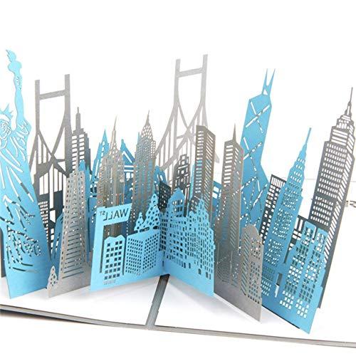 HONZIRY Tarjeta de felicitación Saludo Tridimensional 3D Cortado en Papel Recuerdos de la Ciudad de Nueva York Todas Las Ocasiones Regalos creativos para niños (Color: Gris)