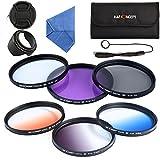 K&F Concept 58mm Filtre protection Filtre Polarisant Filtre Neutre Filtres Couleur Gradués (Bleu/Orange/Gris ND4)