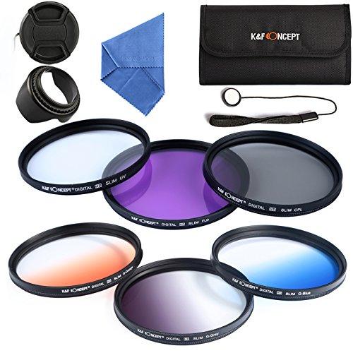 K&F Concept® Objektiv Filterset 58mm FLD Filter 58mm UV Filter 58mm CPL Filter Set Verlaufsfilter 58mm Orange Blau Grau mit Gegenlichtblende Objektivkappe Objektivkappenhalter Mikrofasertuch und Filtertasche für Canon und Nikon DSLR Kamera