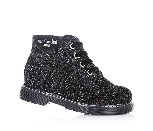 NERO GIARDINI - Chaussure noire et gris argenté à lacets, en paillettes, glissière latérale, lacets en velours et semelle en caoutchouc, fille, filles
