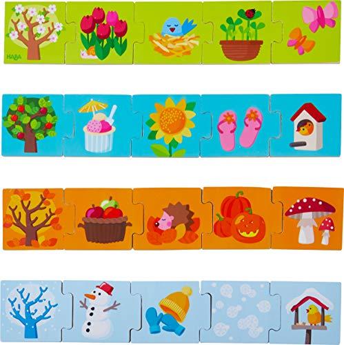 HABA 304259 - Zuordnungsspiel Jahreszeiten, Sortierspiel zum spielerischen Kennenlernen der Jahreszeiten, 20 Puzzleteile aus Holz, Spiel ab 2 Jahren