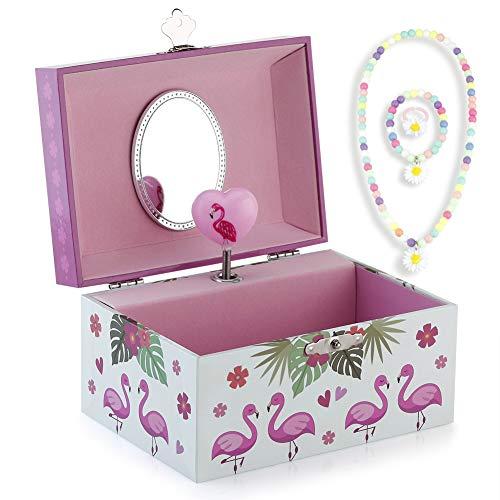 RPJC Kinder Musik - Glocke Schmuckkästchen - Box Speichern und Set für Schmuck mit Flamingo Thema - Wunderschön Träumer Tune Pink