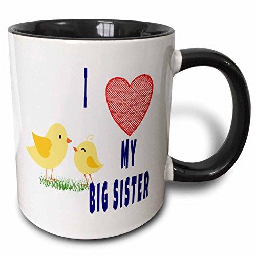 """3D Rose 218142_4 Tasse mit Aufschrift""""I Love My Big Sister"""", zweifarbig, Keramik, Schwarz"""