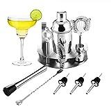 Cocktailshaker Set von OCDAY - Premium Edelstahl Bar Cocktailset: 12-teiliges Cocktail-Set mit praktischer Handhabung, Professioneller Cocktail Shaker / Martinishaker / Mixer mit Sieb, Messbecher, Barlöffel, Gabel + Barstößel
