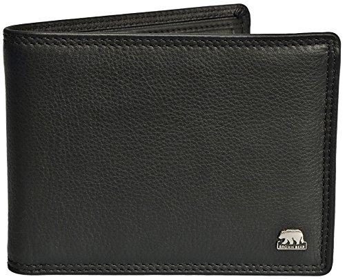 Brown Bear Geldbörse Herren Leder schwarz 8005 D (Geldbörsen Schwarz)