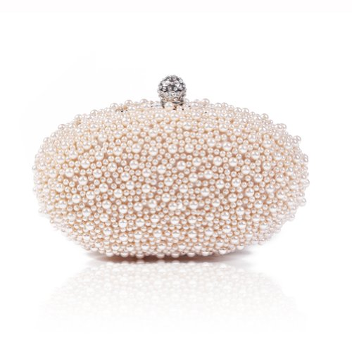 Damara Mini Damen Eier Perle Hartschalen Clutches,Beige Champagne