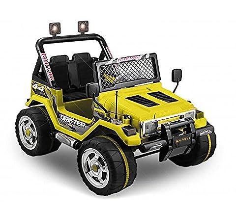 JEEP 2 SITZER Kinder Elektro Akku Offroad Fernsteuerung elektrisch ATV Geländewagen Cross Dirt Pit Bike 2x 30W 12V (gelb)