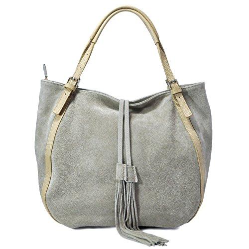 Edge Handbags - Borsa da donna Shopping Bag - Borsa a tracolla con chiusura a Zip - Dimensioni 38x30x12cm (LxAxP) - Mod. Jane.011 Fango