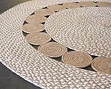 Second Nature Online - Alfombra Redonda de algodón con pequeños círculos Trenzados de Yute Natural, Comercio Justo, Color Beige y Blanco, Yute, Beige, 120cm Diameter