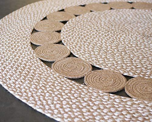 runder Baumwollteppich mit kleinen, geflochtenen Kreisen aus natürlicher Jute, Fair Trade, beige/weiß - 120cm Diameter ()